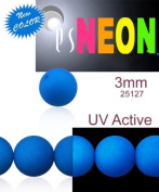 160 pcs Czech Glass Round Pressed Beads ESTRELA NEON (UV Active) BLUE 3 mm