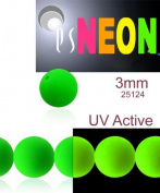 160 pcs Czech Glass Round Pressed Beads ESTRELA NEON (UV Active) GREEN 3 mm