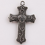 25pcs Charms Vintage Silver Cross Carved Heart Alloy Findings 32x22x3mm