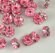 7mm Rhinestone Disc Beads Pink 36pcs