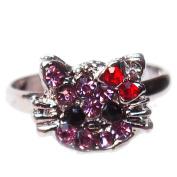 1 pc of Pink Kitty Rhinestone Ring - Adjustable