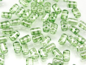 Czech Glass Two-Hole Seed Beads RULLA 3x5mm 20gram lustre GREEN