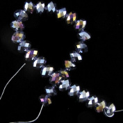 """7x10mm faceted crystal AB rondelle beads 8"""" B17196"""