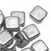 Czech Glass 2-Hole Square Beads 6mm 'Silver'