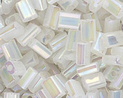 Czech Glass 3x5mm Rectangle Nibblette Bead.Translucent Lustre Rainbow White