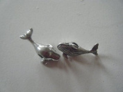 Pandora Style Antique Silver Whale Charm with Rhinestone