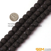 Gem-Inside Round Black Lava Rock Beads Strand 15 Inches Size:4mm/6mm/8mm/10mm/12mm/14mm/16mm/18mm/20mm