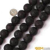 Gem-Inside Round Black Lava Rock Beads Strand 15 Inches Size:4mm/6mm/8mm/10mm/12mm/14mm/16mm/18mm/20mm