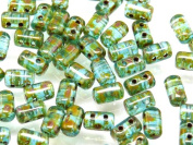 Czech Glass Two-Hole Seed Beads RULLA 3x5mm 20gram AQUA TRAVERTIN
