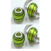 Silver Foil Glass European Beads Fit Pandora Lime with Dark Rings, 14mm, 4pc Pkg