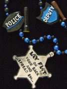 Lay Flat and Spread Em Sheriff Badge Mardi Gras Bead Necklace Spring Break Cajun Carnival Festival New Orleans Beads