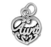 Sterling Silver Aunt Heart Charm
