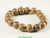 12mm Luos Natural Wood Dragon Eye Mala Bracelet - W002