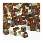 "7"" Cut Crystal Beads Gold Cube 4 & 6mm"