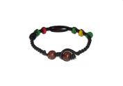 Asian Hippie Wristband Brown Line with Colour Wood Thai Bracelet Vintage Style Fashion