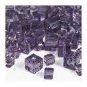 """7"""" Cut Crystal Beads Amethyst Cube 4 & 6mm"""