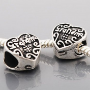 Grandma Heart Spacer Charm Bead Compatible with Pandora, Chamilia, Troll, Biagi and Other Italian Jewellery