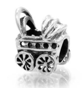 Baby Carriage Bead Charm Spacer Compatible with Pandora, Biagi, Troll, Chamilia and Other Italian Jewellery