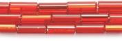 Preciosa Ornela Czech Straight Bugle Glass Bead No.3, 2 by 7mm, Silver Lined, Ruby