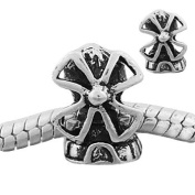 """Antique Silver """"Windmill"""" Compatible with Pandora, Chamilia, Troll, Biagi and Other Italian Jewellery"""