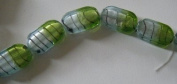 Lampwork Green and White Oval Striped Beads