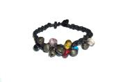Asian Hippie Wristband Black Line with Bell Thai Bracelet Vintage Style Fashion