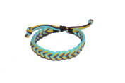Asian Hippie Wristband Blue- Yellow - Brown Reggea Line Thai Bracelet Vintage Style Fashion