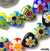 Millefiori Glass Beads Hearts 10mm 40pc Rainbow Mix