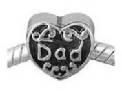 Dad Heart Bead Charm Spacer Compatible with Padnora, Chamilia, Troll, Biagi and Other Italian Jewellery