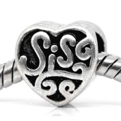 Sis Heart Charm Bead Spacer Compatible with Pandora, Chamilia, Biagi, Troll and Other Italian Jewellery