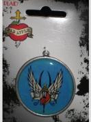 Plaid Bad Apple Epoxy Wings Tattoo Metal Pendant # 95877