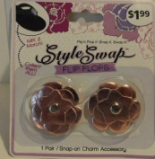 Style Swap Flip Flops Snap-on Charm Assembly - Pink Metallic Flower Charm