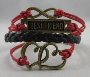 Vintage Bronze Infinity Karma Best Friend Heart Red Ropes Black Leather Bracelet