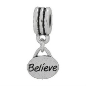 European Style Believe Dangle Charm Bead. Compatible With Troll, Zable, Baigi, Chamilia, And Many More Charm Bracelets.