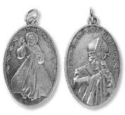 BULK Deluxe Divine Mercy Blessed John Paul II Devotional Medal Pendant