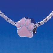 B1109 tlf - Large Pink Paw - 2 Sided - Im. Rhodium Plated Large Hole Bead