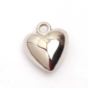 Antique Silver Plated Acrylic CCB HeartJewelry Making DIY Beads Charms Pendants,10mmx12mm.