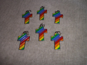 Rainbow Cross Enamel Charms