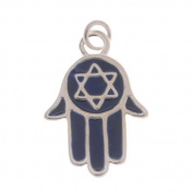 Silver Plated With Blue Enamel - Jewish Star Of David Hamsa Hand Charm 19mm