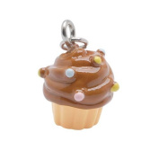 Hand Painted Charm Cupcake With Chocolate Frosting And Sprinkles 14mm