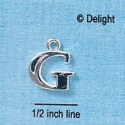 C2271 tlf - Large Silver Initial - G - Silver Plated Charm