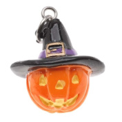 Hand Painted 3-D Halloween Jack O Lantern With Witches Hat Lightweight