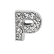 "12x Alphabet Slide Charm, Letter ""P"", 8mm"