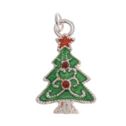 Silver Plated Enamel Charm Christmas Tree Adorned With. ELEMENTS Crystal 19mm