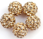 DUMAN 5pcs 10mm Shamballa Inspired Crystal Ball Beads, Champagne