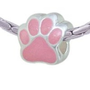 BT1075 tlf - Large Pink Paw - Triple Silver Plated Large Hole Bead
