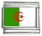 Algeria Country Flag Photo Italian Charm, BRAND NEW, made with stainless steel and hand-made. These charms are compatible with any of the Italian medium-sized (9mm) bracelets such as UBERRY, Zoppini, Boxing, Level, and Ryry.
