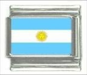 Argentina Country Flag Photo Italian Charm, BRAND NEW, made with stainless steel and hand-made. These charms are compatible with any of the Italian medium-sized (9mm) bracelets such as UBERRY, Zoppini, Boxing, Level, and Ryry.