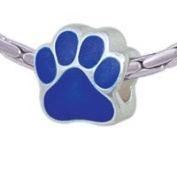BT1072 tlf - Large Royal Blue Paw - Triple Silver Plated Large Hole Bead