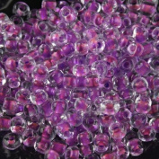 Tube Glass Mini Seed Bead Transparent Inner Purple In bulk 4mm 1000pcs